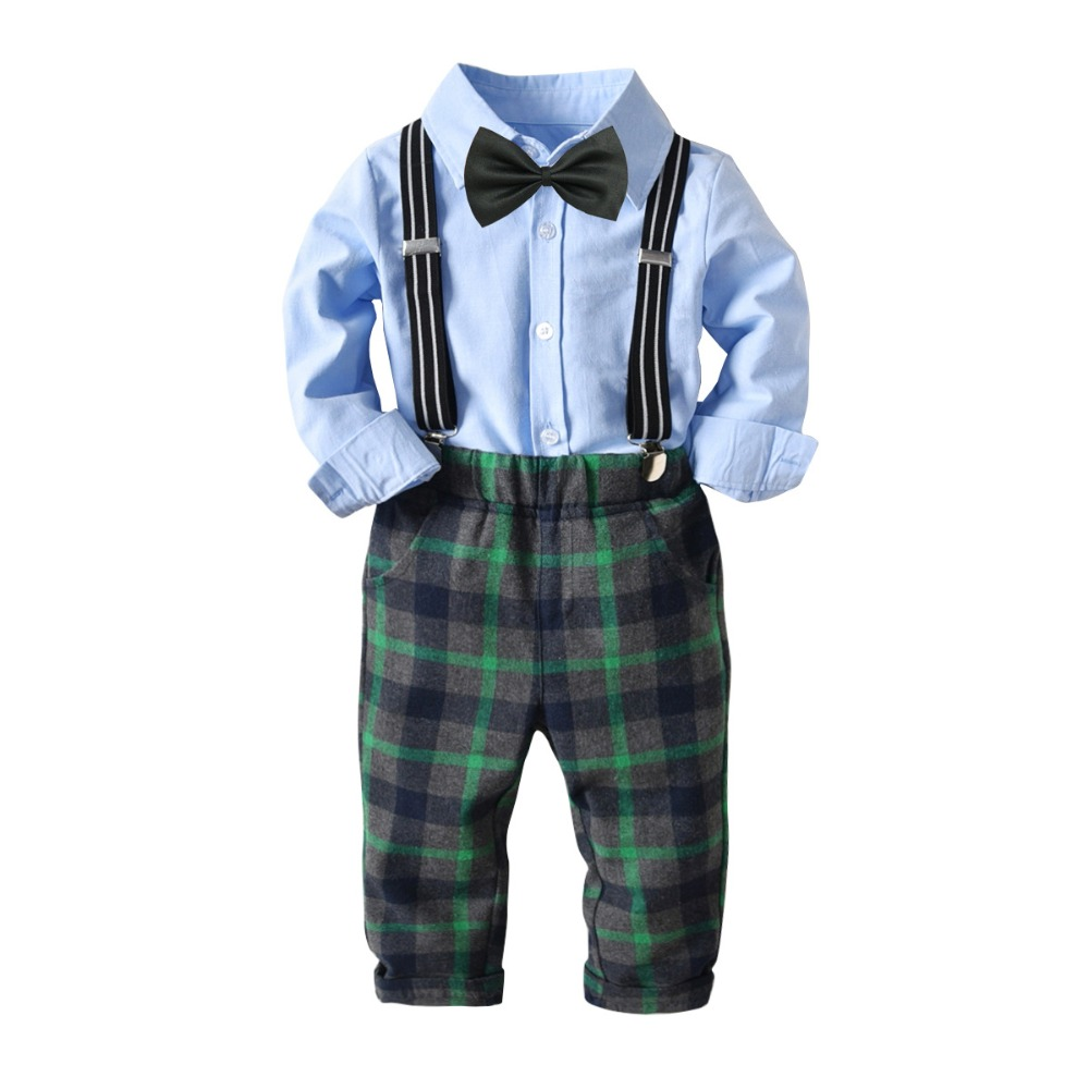 все цены на New children clothing set baby boy cotton clothes long sleeve blue shirt green plaid pants bodysuit autumn boys dress uniform