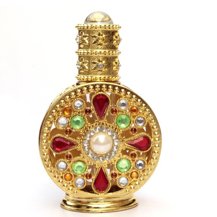 Colorful Retro Retro Metal Glass Bar Perfume Bottle Essential Oil Bottle Big round gemstone bottle 12ml