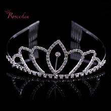 2016 new Princess Hair Jewelry Bride Queen Crown Women Tiara Hair Pins Tiaras and Crowns Rhinestone Accessories RE553