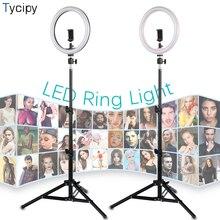 10 بوصة LED مصباح مصمم على شكل حلقة الهاتف استوديو YuTube الفيديو التصوير الإضاءة مصباح مع 1.1m ترايبود محول USB التوصيل ل iphone xiaomi