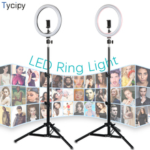 10 inch LED Ring Light Phone Studio YuTube Video Photographic Lighting Lamp With 1.1m Tripod Adapter USB Plug for iphone Xiaomi