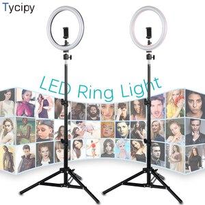 Image 1 - 10 дюймовая светодиодная кольцевая осветительная лампа для студийной фотосъемки телефона YuTube с адаптером для штатива 1,1 м, usb разъем для iphone Xiaomi