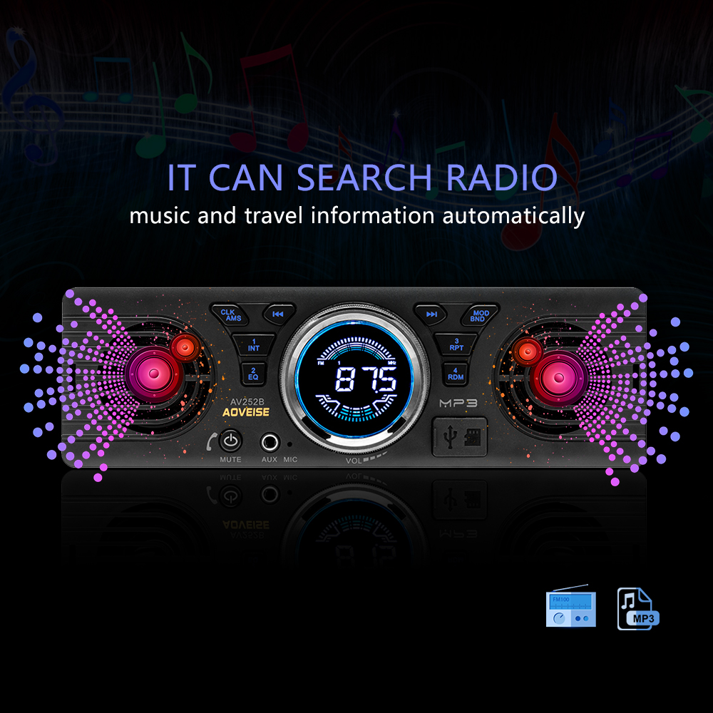 Image 2 - AMPrime Car Radio AV252B Universal 1 din In dash MP3 Audio Player Built in Speaker Stereo FM Support Bluetooth Aux USB/ TF Card-in Car Radios from Automobiles & Motorcycles