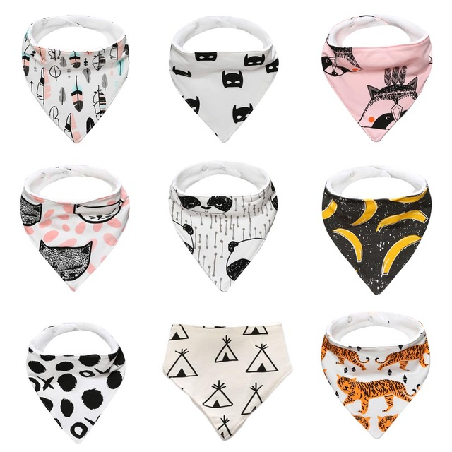 Baby bibs High quality cotton bear fox cross Cartoon Character Animal Print baby bandana bibs dribble bibs
