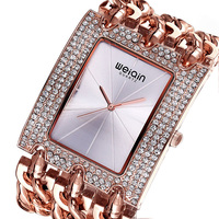 WEIQIN Luxury Brand Crystal Gold Bracelet Watches Women Ladies Fashion Casual Dress Watch Woman Clock Hour