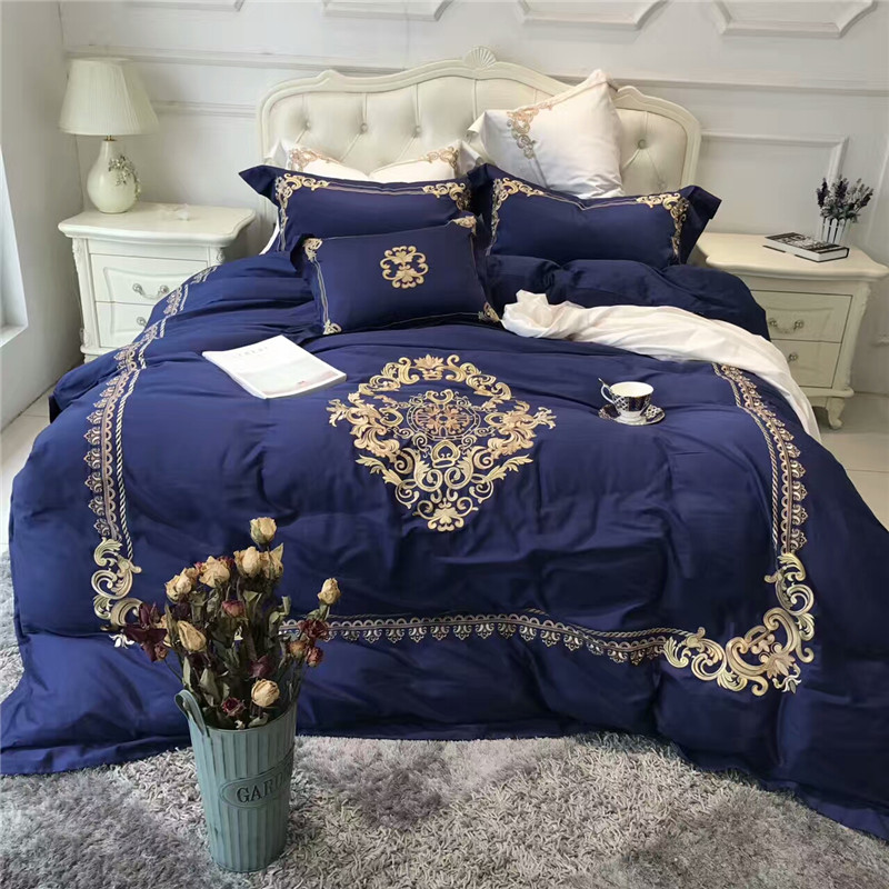 60S Egyptian cotton white blue luxury royal bedding sets