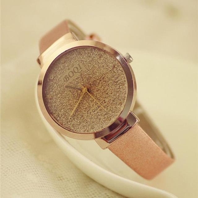 Пески Звездное циферблате женщины Мода темперамент девушки Элитный бренд кварцевые наручные Часы женское платье часы Reloj Relogio # ju