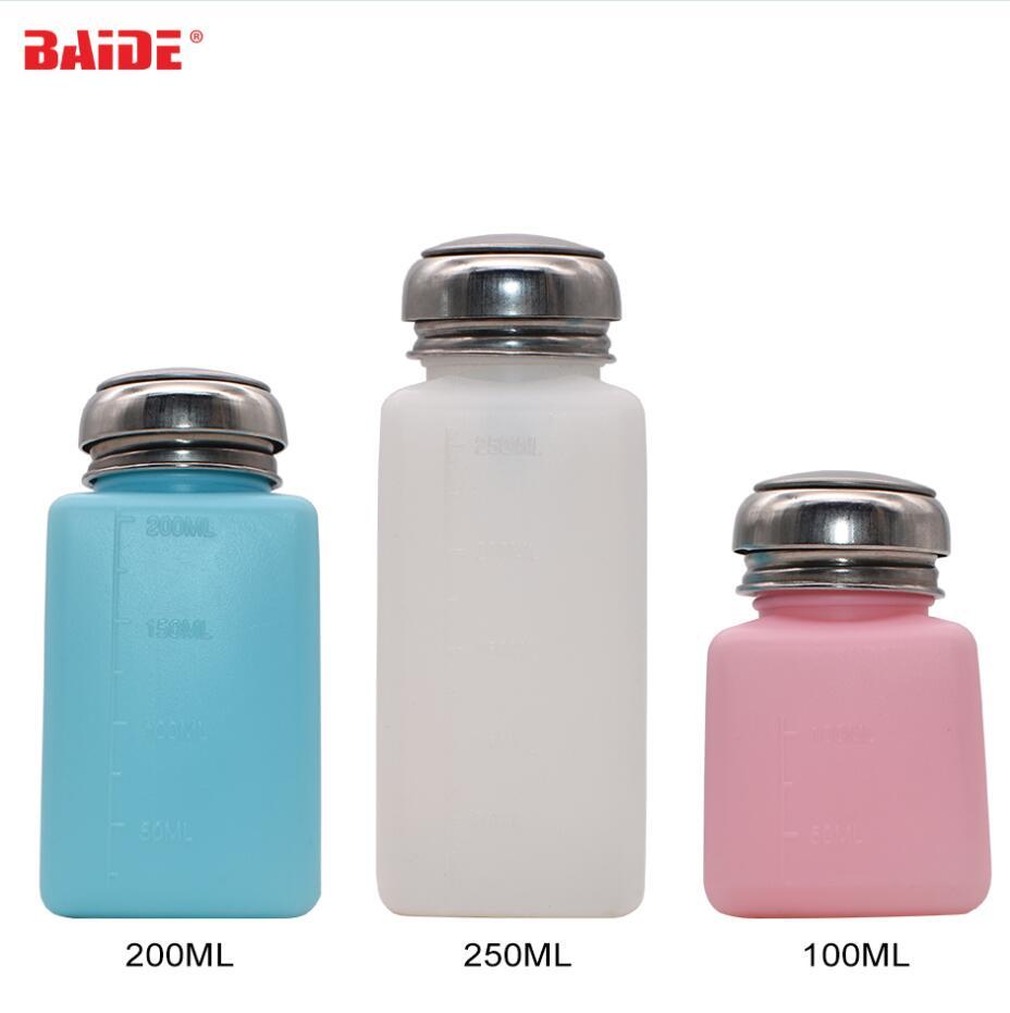 Wholesale 100ml 200ml 250ml Liquid Alcohol Press Nail Polish Remover Dispenser Pumping Bottle for Solvent Oil