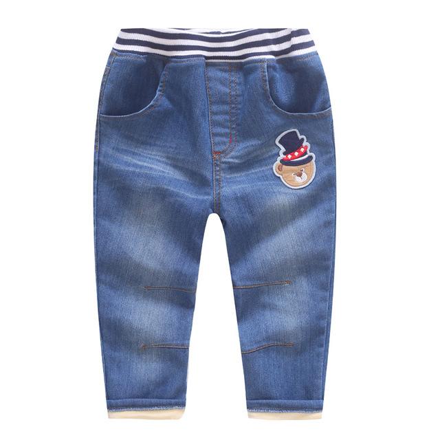 De calidad superior del invierno niños pantalones súper gruesas niños calientes de los niños y niñas de 2-7 Años pantalones vaqueros oso de dibujos animados de mezclilla ocasional pantalones