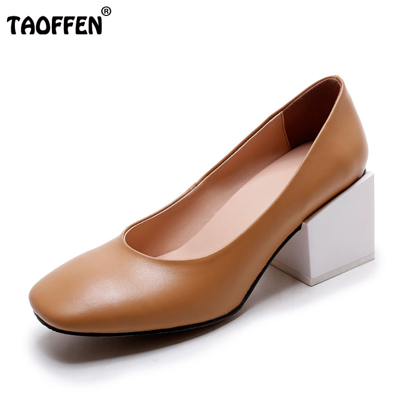 TAOFFEN Ladies Genuine Leather High Heels Shoes Women Square Heels Pumps Classics Square Toe Slip-On Fashion Footwear Size 34-39 3 inch autumn horsehair platform square toe creepers high heels yellow ladies green wedge shoes genuine leather wine red pumps