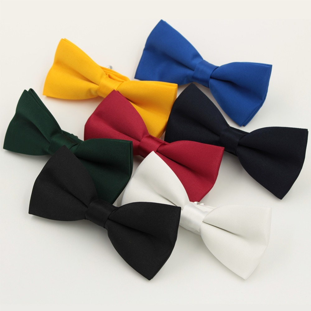 Solid Colour Fashion Bow Ties For Men Red Blue Bowtie Wedding Groom Butterfly Cravat Gravata Black Bow