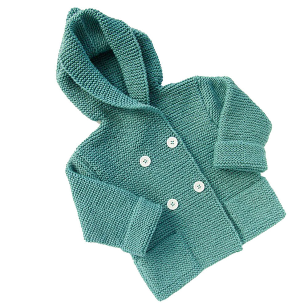 Toddler Kids Boys Girls Clothes Button Hooded Knitted Sweater Cardigan Coat Tops Oct 12 christmas horn button hooded handkerchief coat