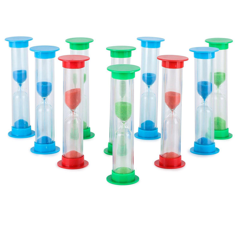 hot sale sand timer set  5 min  large 10pcs pack set of five minutes hour glasses for kids