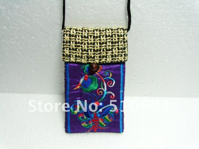 Free shipping! Wholesale 100pc Hand Embroidery Mobile Phone Holder Cases Pouch bags mobile bag
