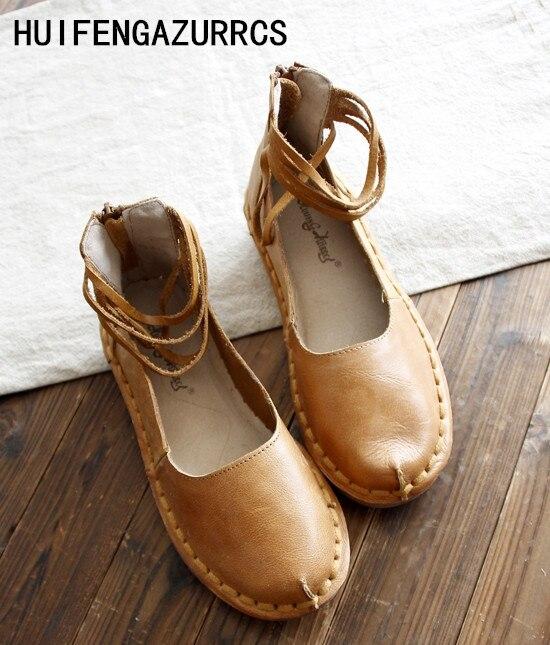 HUIFENGAZURRCS características originales de la personalidad zapatos hechos a mano bandage de cuero muy completo Sandalias planas de arte RETRO-in Zapatos planos de mujer from zapatos on AliExpress - 11.11_Double 11_Singles' Day 1
