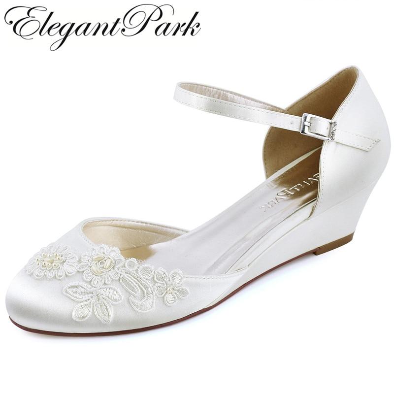 Women Wedges Ivory Mid Heel Bridal Wedding Shoes Close Toe
