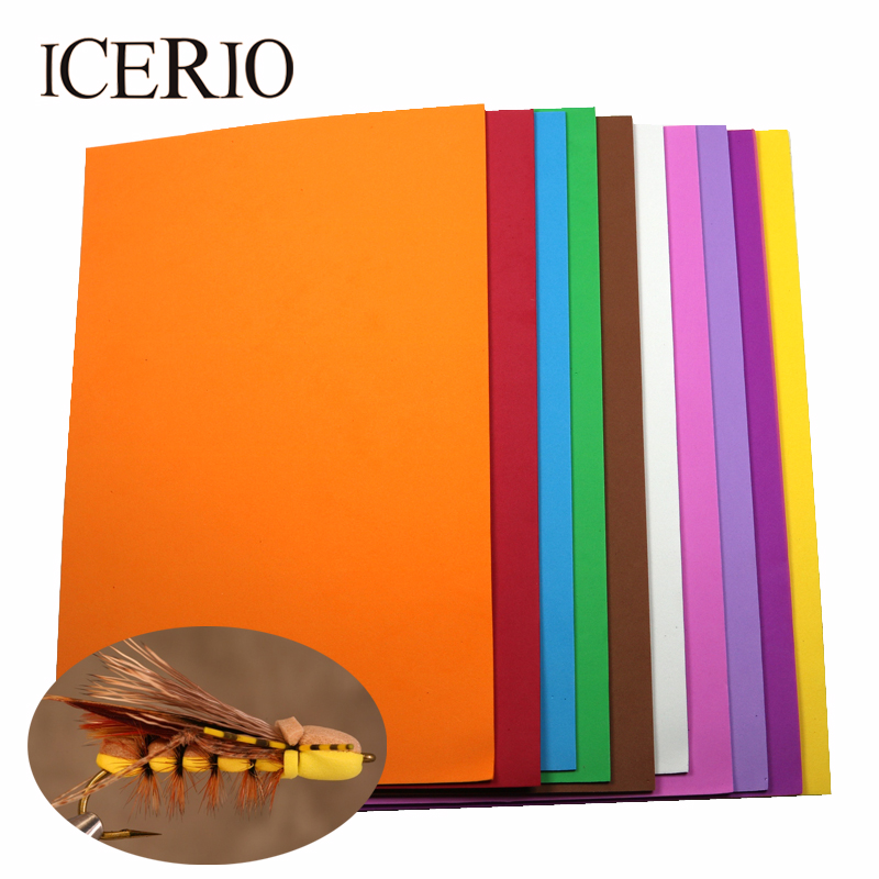 цена ICERIO 10PCS/Pack Random Color 2mm*20cm*30cm EVA Fly Tying Foam Sheets Paper Ant Beetle Caddis Fly Tying Material
