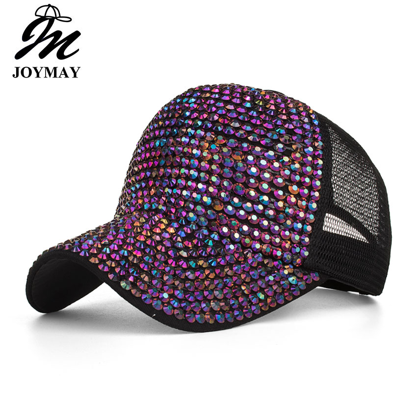 Joymay 2018 NEW ARRIVAL Spring Summer season glitter wave mesh   cap   Woman fashion Femal shining outdoor   Baseball     cap   B543
