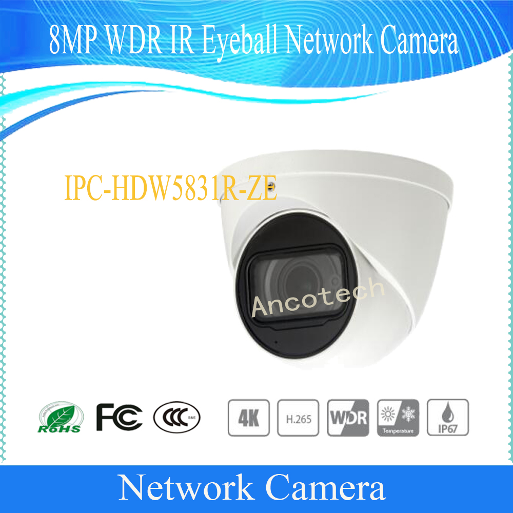 Free Shipping DAHUA Security IP Camera CCTV 8MP WDR IR Eyeball Network Camera with POE IP67 IK10 Without Logo IPC-HDW5831R-ZE free shipping dahua security cctv ip camera 5mp wdr ir mini bullet camera with poe ip67 no logo ipc hfw1531s