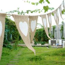 Love Heart Rustic Hessian Jute Linen Bunting Flags Burlap Lace Pennant Party Garland Wedding Decoration