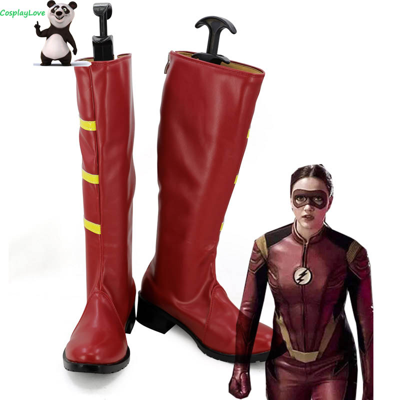 DC <font><b>The</b></font> <font><b>Flash</b></font> 3 Female Speedster Jesse Quick Red Shoes <font><b>Cosplay</b></font> Shoes <font><b>Boots</b></font> CosplayLove For Halloween Christmas image