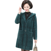 Winter Middle aged Women Faux Fur Coats Long Casual Hooded Thicken Warm Loose Overcoats Ladies Plaid Faux Fur Jackets FP1688