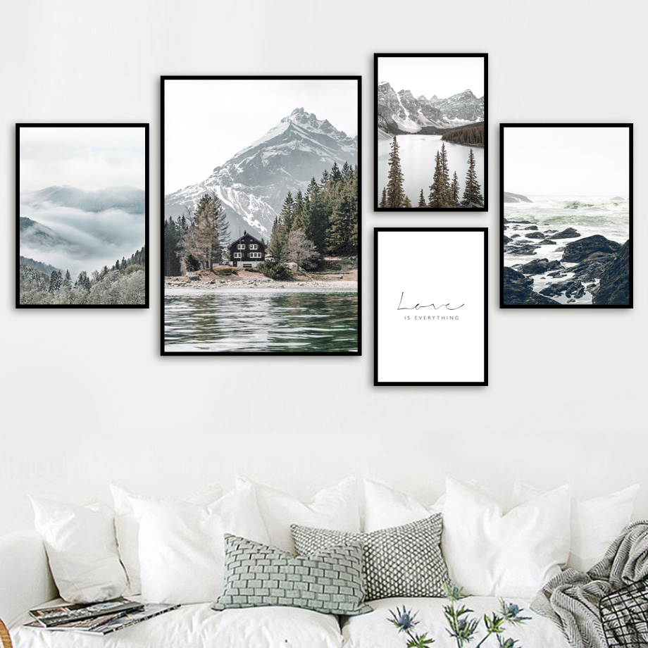 Fog Reef Snow Mountain Lake Pine Forest Wall Art Canvas Painting Nordic Posters And Prints Wall Pictures For Living Room Decor