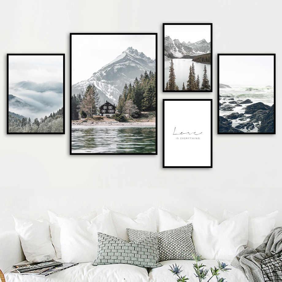 Kabut Reef Snow Mountain Lake Hutan Pinus Dinding Seni Lukisan Kanvas Nordic Poster dan Cetakan Dinding Gambar untuk Ruang Tamu dekorasi