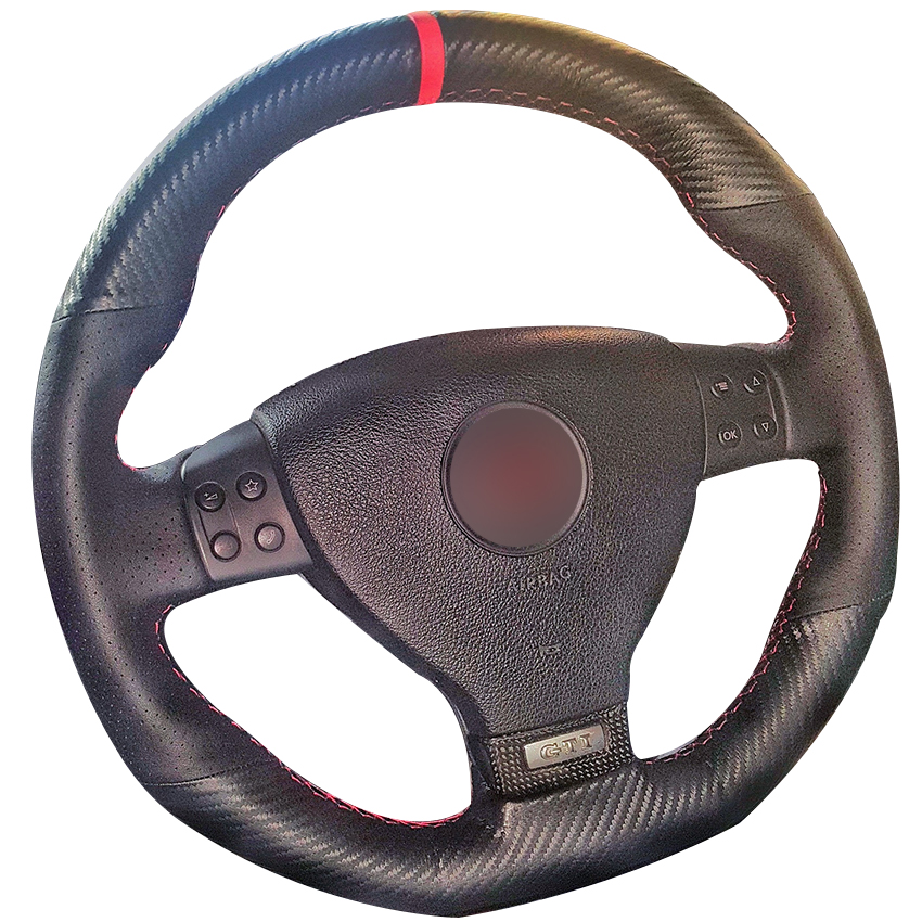 Carbon Fiber Leather Black Leather Red Marker Steering Wheel Cover for Volkswagen Golf 5 Mk5 GTI