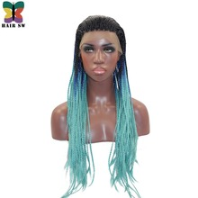 HAIR SW Long Braided Box Braids lace Front Wig Ombre Dip Dye Blue Brown Blonde Fishtail Hand Synthetic Braided For Black Women