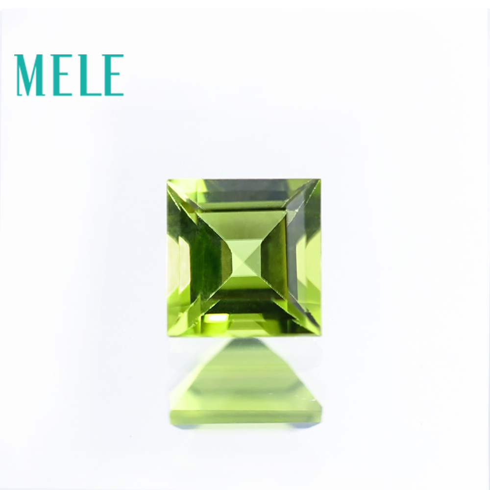 MELE Natural Peridot Stone For Jewelry Making,6mmX6mm Square Cut Green Loose Gemstone,fire Color And Bright With High Quality