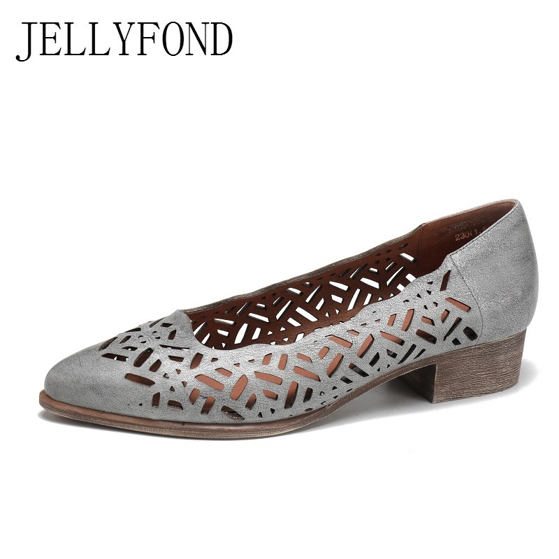 JELLYFOND Brand Gladiator Sandals Women 2018 Handmade Genuine Leather Cuts Out Pointed Toe Low Heels Summer Shoes Woman