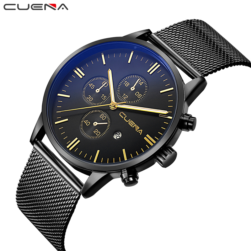 CUENA Men Fashion Mens Watches Top Brand Luxury Waterproof Wristwatches Stainless Steel Man Quartz Wrist Watch Relogio Masculino mige 2017 new hot sale top brand lover watch simple white dial steel case man watches waterproof quartz mans wristwatches