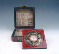 Elaborate Ancient Chinese Classical Feng Shui Compass with Wooden Dragon Phoenix Box