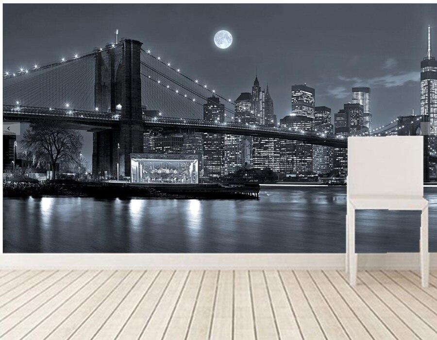 Custom photo wallpaper,New York Brooklyn Bridge Skyline,3d ...