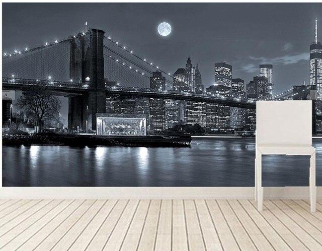 Benutzerdefinierte 3d wandbilder, New York City Flüsse Brücken Nacht ...