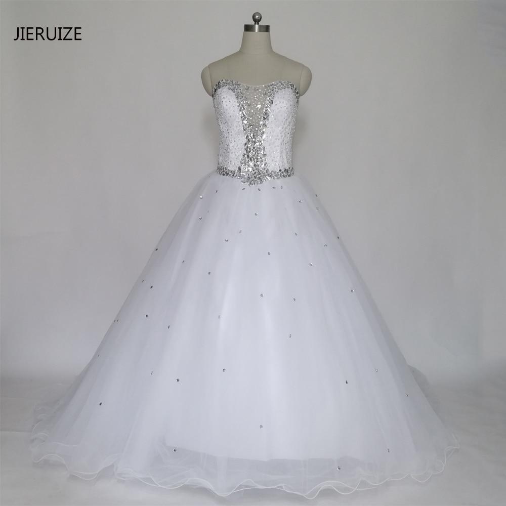 Kristály gyöngyök Fehér Labdarúgás Luxus esküvői ruhák Édesem csipke fel vissza Esküvői ruhák köntös házasság Vestido de Festa