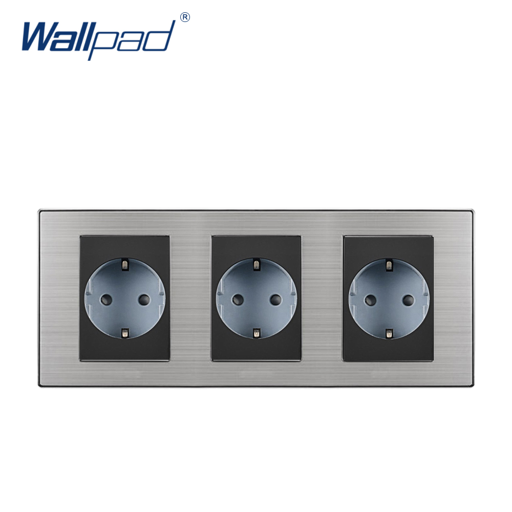 2018 Wallpad Hot Sale Triple EU Socket Schuko Luxury Wall Electric Power Outlet German Standard 16A AC110~250V 234*86mm