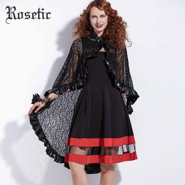 Rosetic Gothic Wraps Spitze PU Frauen Herbst Mode Schals Outwear Hexe  Vampire Schwarz Decor Zubehör Straße 23dfbbd348