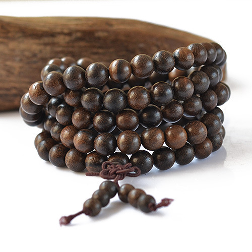 Authentic tiger aloes incense hand beaded meditation bracelet jewelry beads East Timor men bracelet 108 beads wristband  0363