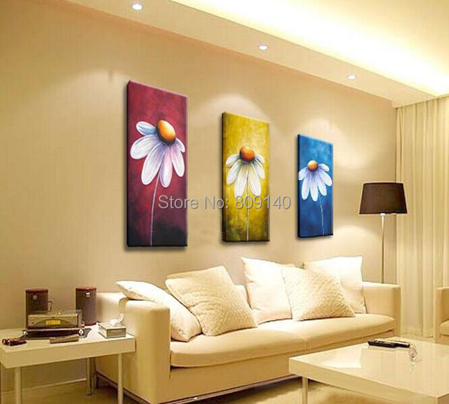 Framed Flower oil painting Ready to Hang Sunflower Artwork handmade ...
