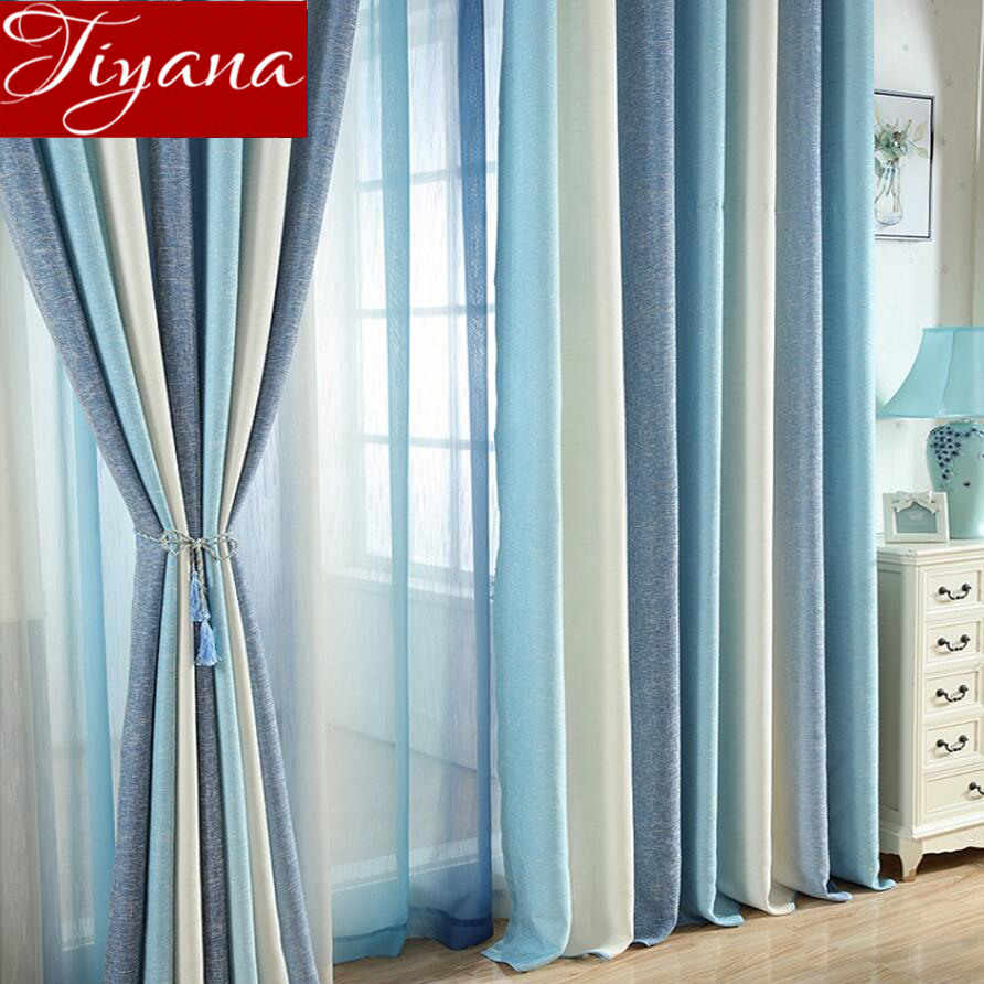 Blue Curtain for Living Room Solid Striped Curtain for ...