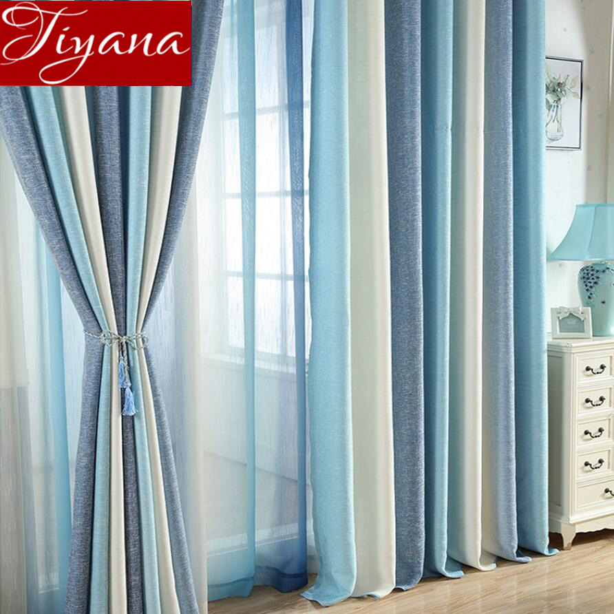 US $6.3 36% OFF|Blue Curtain for Living Room Solid Striped Curtain for  Window Bedroom Sheer Fabric Beige Drapes Linen Shade Treatment T&109#30-in  ...