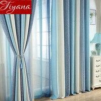 Cortina azul para sala de estar sólida listrado cortina para janela quarto puro tecido bege cortinas linho sombra tratamento t & 109 #30