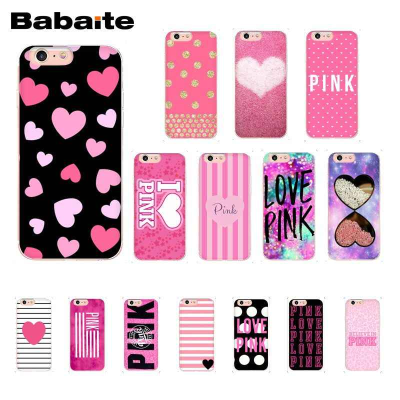 Babaite Liefde Roze Hart Strip Stippen Girly Pretty Phone case voor iphone 11 Pro 11Pro Max X XS MAX 6 6S 7 7plus 8 8Plus 5 5S XR