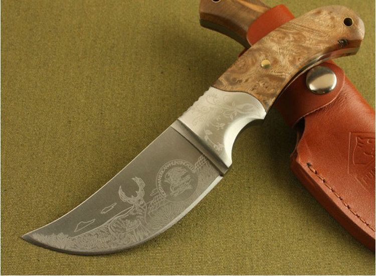 High Quality Trskt African Rhino Hunting Knife Survival Camping Knives 440c Blade With Wood Handle Outdoor Tool Free Shipping