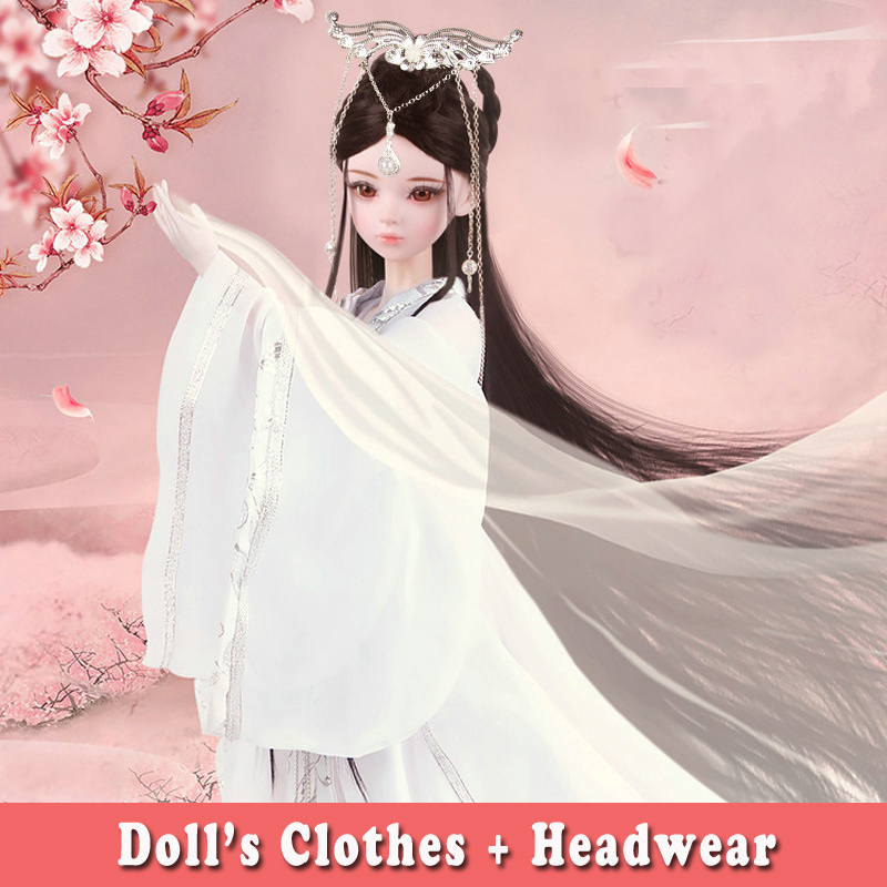 Handmade Chinese Ancient Costume Doll Clothes+ Headwear Suit for Bjd 1/3 Dolls Girl Dress for 60CM Doll Toys Dolls Accessories