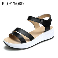 E TOY WORD Summer Korean Fashion Leather Flat Sandals Ladies Large Size Flat With Pregnant Women