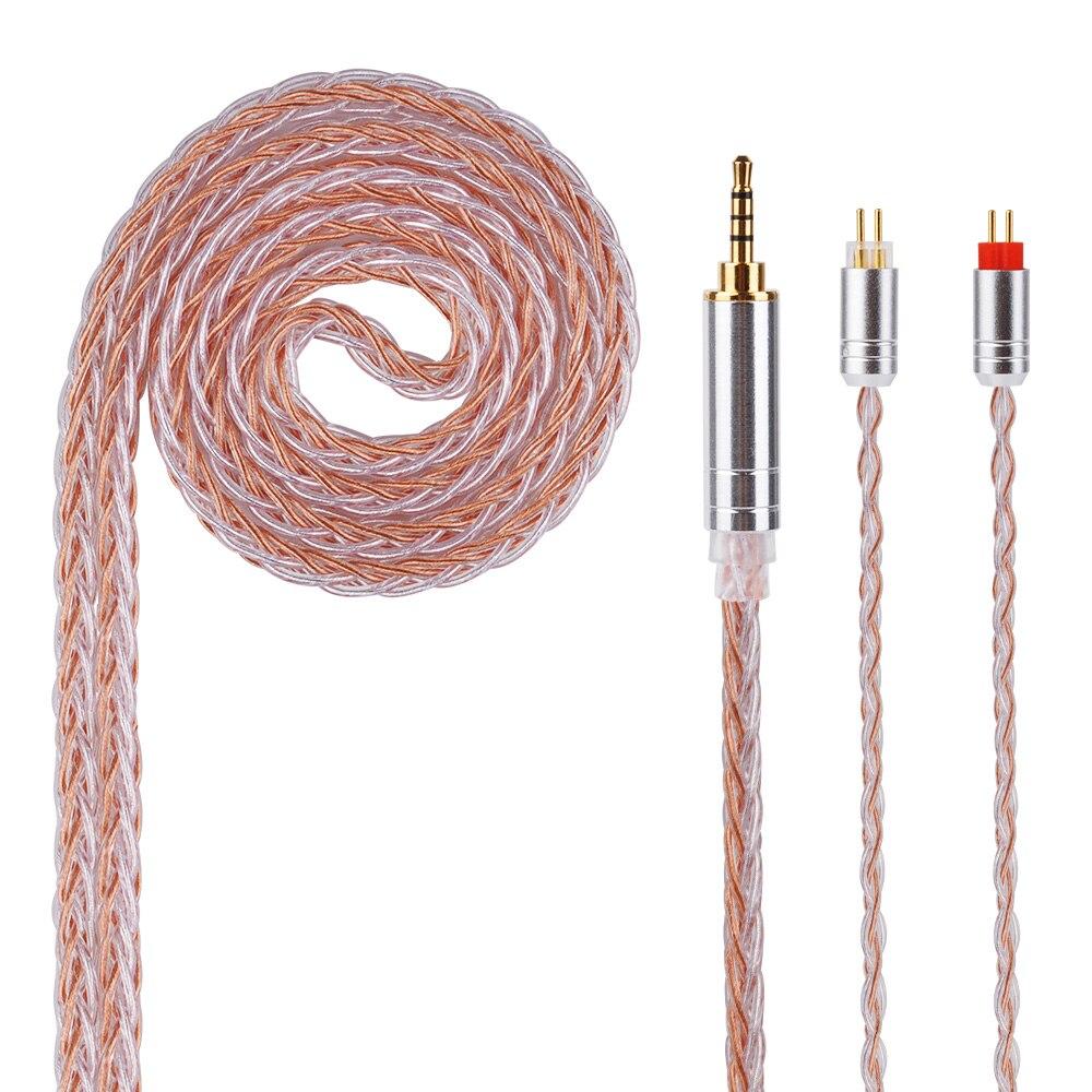HiFiHear 8 Core Argent Plaqué Câble 2.5/3.5/4.4mm Câble Équilibré Avec MMCX/2pin Connecteur Pour LZ A5 HQ5 HQ6 KZ ZS10 ZS6 ZSR
