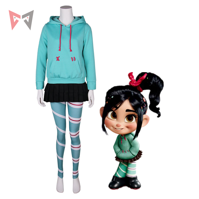 MMGG Halloween Wreck-It Ralph Cosplay Vanellope von Schweetz costume cosplay gioco Sugar Rush cosplay set